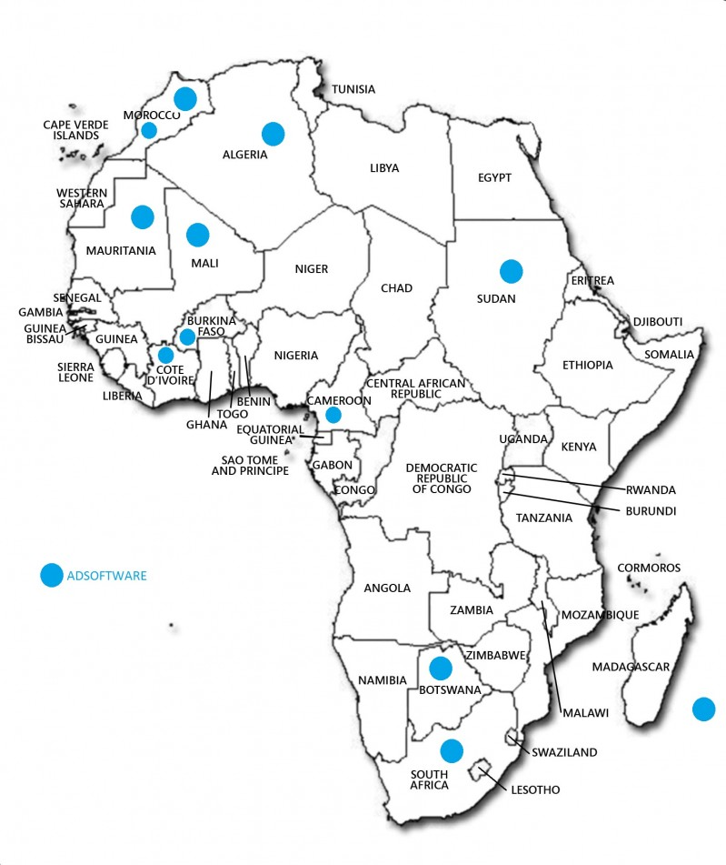 Maps of Adsoftware's customer in Africa